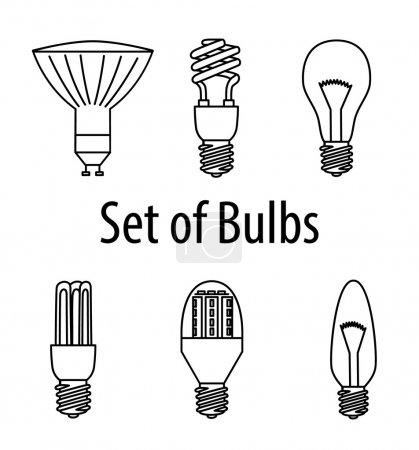 Set of different types of bulbs. Vector Illustration. Source of Light.