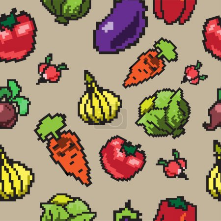 seamless pattern with pixel vegetables
