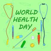 World health day vector illustration on both healthy lifestyle and medical healthcare with cucumber carrot jump rope tennis ball ski pole pill  tablet capsules syringe thermometer stethoscope  for web banner flyer poster