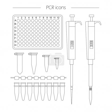 PCR outline icon set of 96 well plate, pipette, ep...