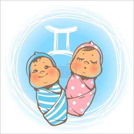 Illustration for Childrens horoscope icon. Kids zodiac. Cute little baby boy and girl as Gemini astrological sign. Newborn baby twins. Colorful vector illustration. Astrological symbol as cartoon character. - Royalty Free Image