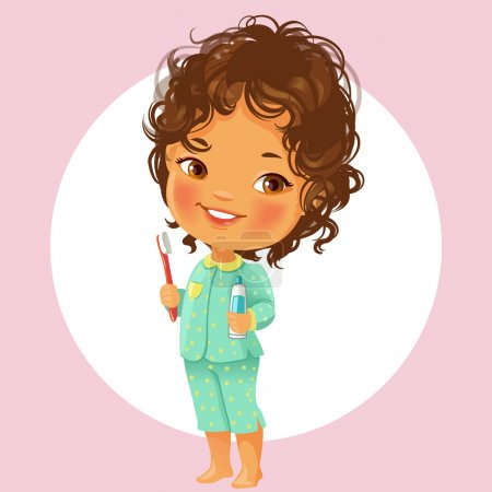 Vector portrait of cute little girl ready to brush...