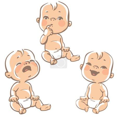 Set of baby emotion icons.