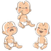 Cartoon little babies in diapers crying baby smiling baby curious Vector  ilustration on white background