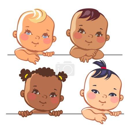 Set of cute little baby girls