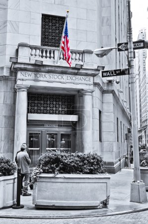 The side entrance of New York Stock Exchange on the Wall Street in New York City