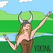 Vikings warriors nordic girl scandinavian woman in helmet Norwegian culture and nature Morway landscape