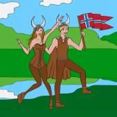 Vikings warriors nordic boy and girl scandinavian man and woman in helmet Norwegian culture and nature Morway landscape