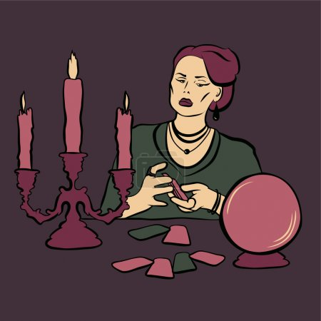 Illustration for Fortune teller woman with crystall ball and tarot - Royalty Free Image