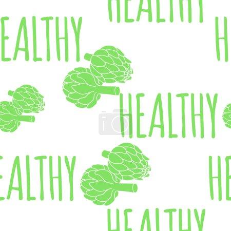 doodle illustration of artichoke, healthy food seamless pattern