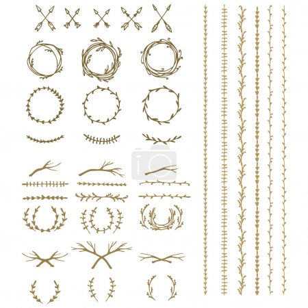 Illustration for Hand drawn illustration. Vintage decorative lovely set of laurels, branches and wreaths. Doodle greek ancient  wreath, text dividers and borders with laurel leaves, decorative design elements - Royalty Free Image