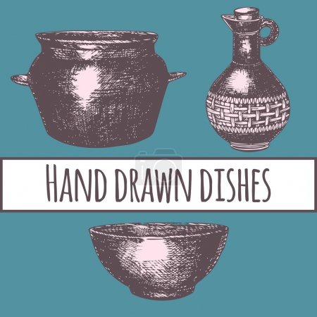Empty hand drawn cooking dishes,