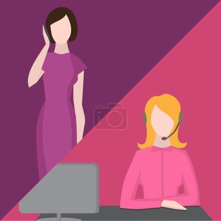 Illustration pour Service de soutien, icônes avatar centre d'appels féminin avec une femme sans visage avec téléphone et femme portant des écouteurs, ligne d'assistance des services à la clientèle - image libre de droit