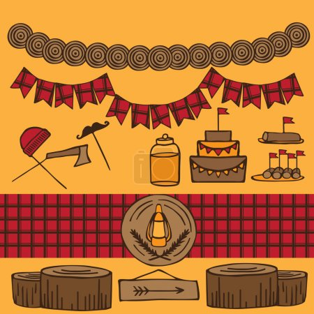 Illustration for Rustic Woodsy Outdoor Lumberjack party ideas, camping party ideas - Royalty Free Image