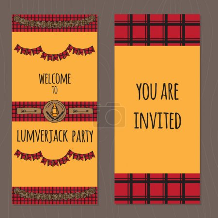 Illustration for Rustic Woodsy Outdoor Lumberjack party ideas tickets, camping party ideas - Royalty Free Image
