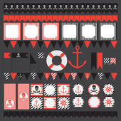 Printable set of vintage pirate party elements