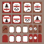 Printable set of vintage Lumberjack party elements Templates labels icons and wraps