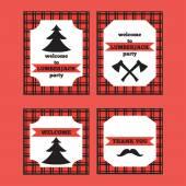 Printable set of vintage Lumberjack invitation and welcome cards