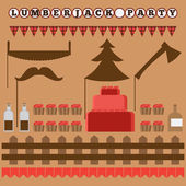 Set of vintage Lumberjack party elements trendy Hipster Buffalo Check Tartan and Gingham Party Ideas