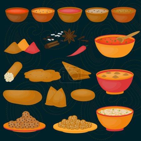 Vedic Indian cuisine, set of vegetarian healthy food