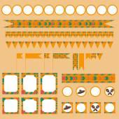 Printable tribal set of mexican fiesta cinco de mayo   party elements