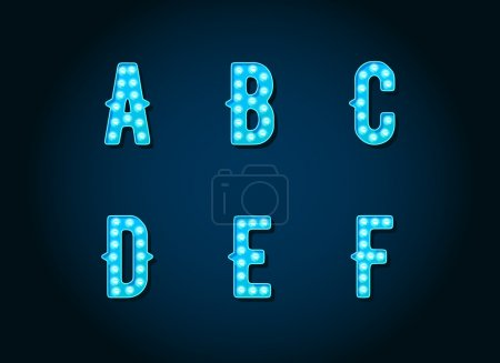 Blue light bulbs Alphabet