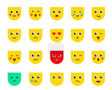 Illustration for Set of Emoticons Icons or Emoji. Vector Illustration. - Royalty Free Image