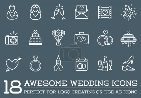 Set of Wedding Love Elements