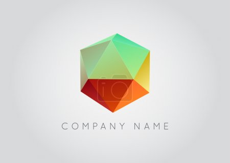 Trendy Crystal Triangulated Gem Logo