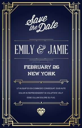 Illustration for Art Deco and Nouveau Epoch 1920's 1930's and 1940's Gatsby Style Gangster Era Vector Invite - Royalty Free Image
