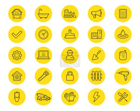 Illustration for Set of 25 Vector Construction Building Icons. Home and Repair. Can be used as Logo or Icon. Premium quality - Royalty Free Image