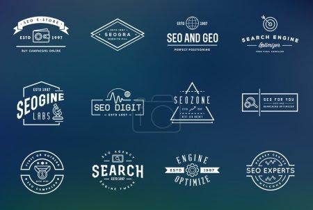 Illustration pour Ensemble d'éléments et d'icônes vectoriels d'optimisation de moteur de recherche SEO Illustration peut être utilisé comme logo ou icône dans la qualité supérieure - image libre de droit