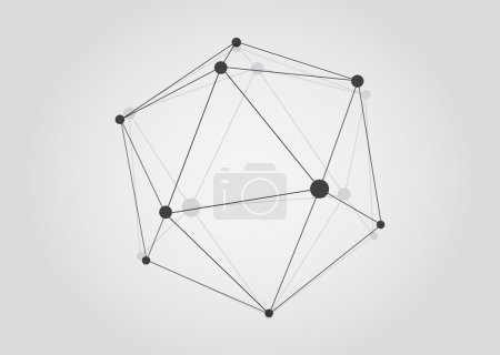 Illustration for Vector Black and White Lattice Shape Symmetric Lined Object with Dots. - Royalty Free Image