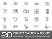 Set of 20 Vector Photo Camera Photography Elements and Video Camera Icons Illustration can be used as Logo or Icon in premium quality