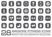 Set of 28 Vector Fitness Aerobics Gym Elements and Fitness Icons Illustration can be used as Logo or Icon in premium quality