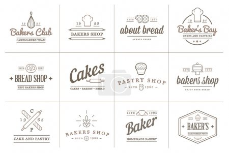 Set of Vector Bakery Pastry Elements and Bread Ico...