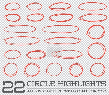 Illustration for Red Hand Drawn Circles Rounds Bubbles Set Collection in Vector - Royalty Free Image
