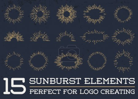 Sun burst vintage shapes elements