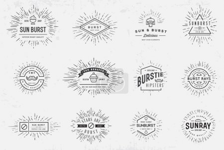 Illustration for Sunburst Element Set for Logo Creating or using as Icon - Royalty Free Image