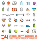 Set of 34 Vector Fitness Aerobics Gym Elements and Fitness Icons Illustration can be used as Logo or Icon in premium quality