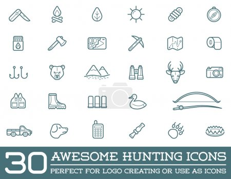 Set of Hunting Camping Sport Elements