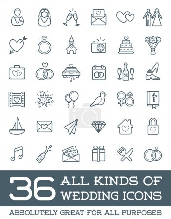All Kinds of Wedding Marriage Icons