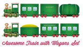 Train With Wagons Green Locomotive