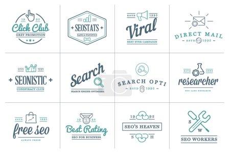 Illustration pour Ensemble d'éléments d'optimisation et d'icônes Vector Seo Search Engine peuvent être utilisés comme Logo ou Icône en qualité supérieure - image libre de droit