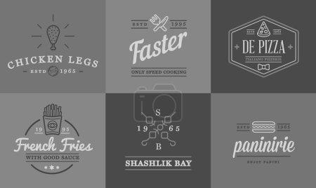 Illustration pour Ensemble d'éléments de restauration rapide Vector Fastfood icônes et équipement comme illustration peut être utilisé comme logo ou icône de qualité supérieure - image libre de droit