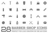 Set of 28 Vector Barber Shop Elements and Shave Shop Icons Illustration can be used as Logo or Icon in premium quality