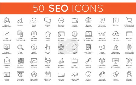 Illustration for Set of 50 Vector SEO Search Engine Optimisation Elements and Icons Illustration can be used as Logo or Icon in premium quality - Royalty Free Image