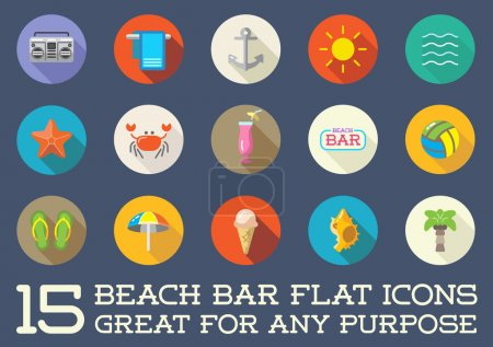 Beach Sea Bar Flat Icons