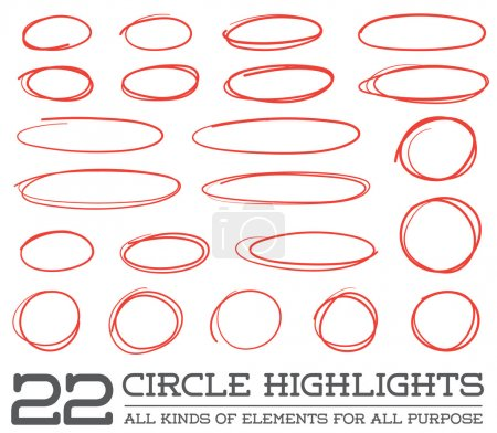 Red Hand Drawn Circles Set