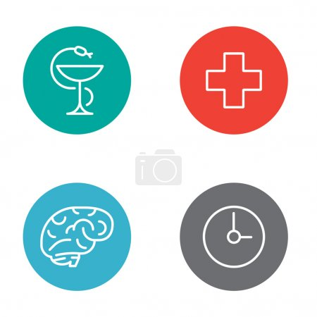 Round Circle Medical Buttons with Icons